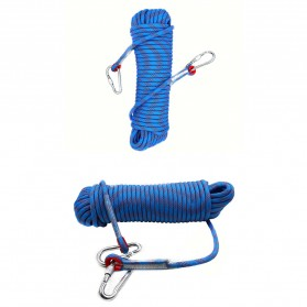 Tali Paracord Panjang Tebing Climbing Rope 10mm 20 Meter with Steel Buckle - 24KN - Blue - 6