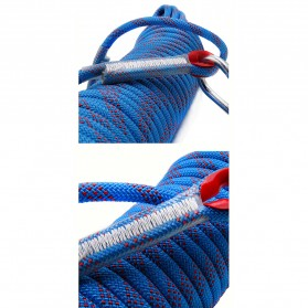Tali Paracord Panjang Tebing Climbing Rope 10mm 20 Meter with Steel Buckle - 24KN - Blue - 7