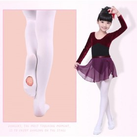 Stocking Balet Anak Microfiber Dance Tights Size S - KW608 - White - 3