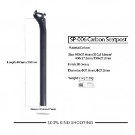 Tiang Dudukan Jok Sepeda Full Carbon Glossy Seatpost 400 x 27.2mm - SP-006 - Black - 7