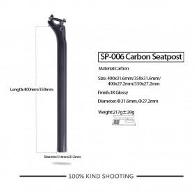 DODICI Tiang Dudukan Jok Sepeda Full Carbon Matte Seatpost 400 x 27.2mm - SP-006 - Black - 7