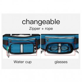CLEVER BEES Tas Pinggang Holder Botol Minum Sporty Waist Bag - L128 - Black - 9