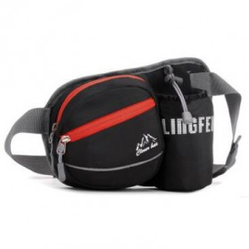 CLEVER BEES Tas Pinggang Holder Botol Minum Sporty Waist Bag - L11 - Black