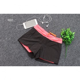 Pro Sport Celana Pendek Gym Fitness Yoga Wanita Double Layer Size M - YG1878 - Red/Black
