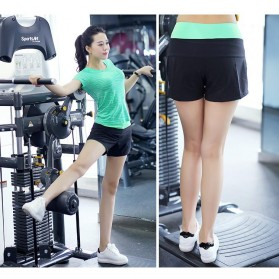 Pro Sport Celana Pendek Gym Fitness Yoga Wanita Double Layer Size M - YG1878 - Red/Black - 6