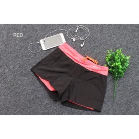 Pro Sport Celana Pendek Gym Fitness Yoga Wanita Double Layer Size L - YG1878 - Red/Black