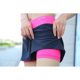 Pro Sport Celana Pendek Gym Fitness Yoga Wanita Double Layer Size L - YG1878 - Red/Black - 2