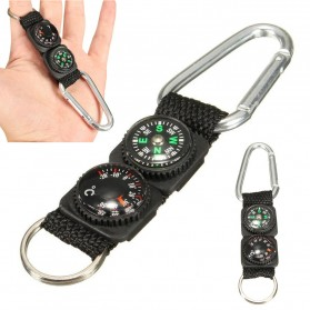 Mayitr Gantungan Kunci 3 in 1 Kompas Termometer Carabiner Key Ring - SF0006244 - Black