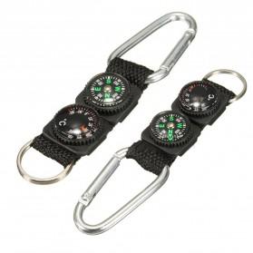 Mayitr Gantungan Kunci 3 in 1 Kompas Termometer Carabiner Key Ring - SF0006244 - Black - 2