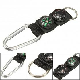 Mayitr Gantungan Kunci 3 in 1 Kompas Termometer Carabiner Key Ring - SF0006244 - Black - 3