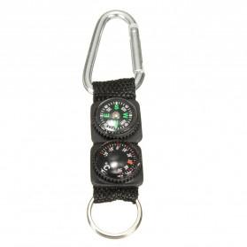 Mayitr Gantungan Kunci 3 in 1 Kompas Termometer Carabiner Key Ring - SF0006244 - Black - 4