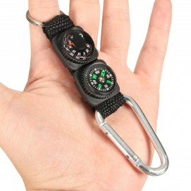 Mayitr Gantungan Kunci 3 in 1 Kompas Termometer Carabiner Key Ring - SF0006244 - Black - 5