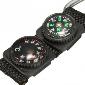 Mayitr Gantungan Kunci 3 in 1 Kompas Termometer Carabiner Key Ring - SF0006244 - Black - 6