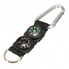 Mayitr Gantungan Kunci 3 in 1 Kompas Termometer Carabiner Key Ring - SF0006244 - Black - 7