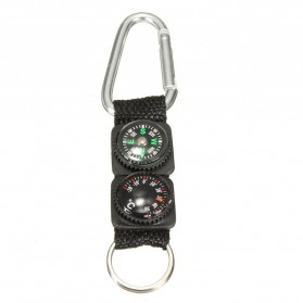 Mayitr Gantungan Kunci 3 in 1 Kompas Termometer Carabiner Key Ring - SF0006244 - Black - 8