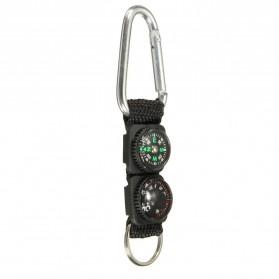 Mayitr Gantungan Kunci 3 in 1 Kompas Termometer Carabiner Key Ring - SF0006244 - Black - 9