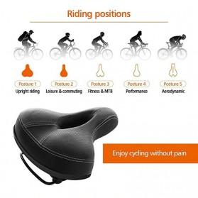 UpperX Jok Sadel Sepeda Bike Saddle Wide Seat Soft Pad Cushion - UX01 - Black - 2