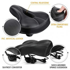UpperX Jok Sadel Sepeda Bike Saddle Wide Seat Soft Pad Cushion - UX01 - Black - 4