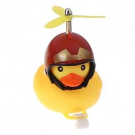 GMARTY Bell Sepeda Anak Bebek Rubber Duck Helm Iron Man with LED Light - YQ153 - Yellow