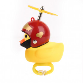 GMARTY Bell Sepeda Anak Bebek Rubber Duck Helm Iron Man with LED Light - YQ153 - Yellow - 2