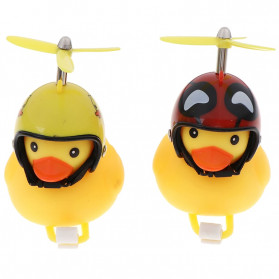 GMARTY Bell Sepeda Anak Bebek Rubber Duck Helm Iron Man with LED Light - YQ153 - Yellow - 8