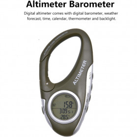ANENG Alat Altimeter Barometer Thermometer Weather Forecast Hiking Karabiner - JN4-5 - Green
