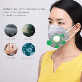 CkeyiN Masker Filter Udara Anti Polusi Respirator PM2.5 5 PCS - MD023G - Gray - 3