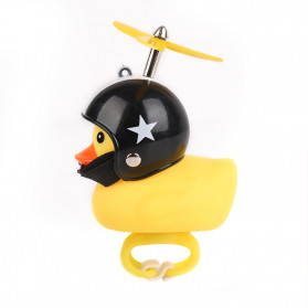 GMARTY Bell Sepeda Anak Bebek Rubber Duck Helm Black Pentagram with LED Light - YQ153 - Yellow
