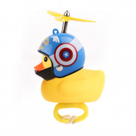 GMARTY Bell Sepeda Anak Bebek Rubber Duck Helm Captain America Shield with LED Light - YQ153 - Yellow