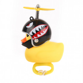 GMARTY Bell Sepeda Anak Bebek Rubber Duck Helm Shark with LED Light - YQ153 - Yellow