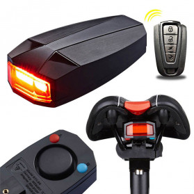 ANTUSI 3 in 1 Alarm Anti Maling Wireless Remote Control and Lampu Belakang Sepeda Bicycle Taillight COB - A6 - Black - 2