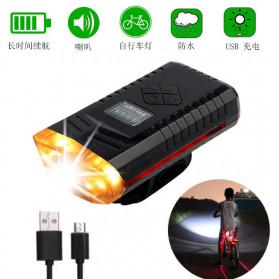 Powerbeam Lampu Klakson Sepeda Bike Light USB Rechargeable Waterproof - BK1719 - Black - 5