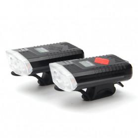 Powerbeam Lampu Klakson Sepeda Bike Light USB Rechargeable Waterproof - BK1719 - Black - 6