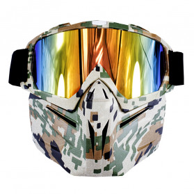 BOLLFO Kacamata Goggles Mask Motorcross Retro Anti Glare Windproof - DHL-2 - Army Green