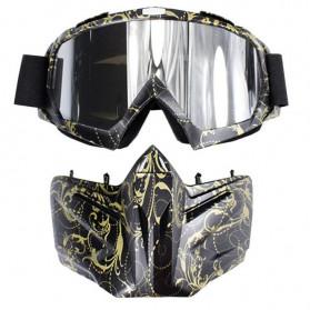 BOLLFO Kacamata Goggles Mask Motorcross Retro Anti Glare Windproof - DHL-2 - Army Green - 2