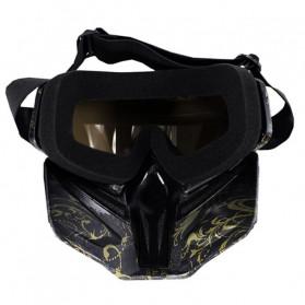 BOLLFO Kacamata Goggles Mask Motorcross Retro Anti Glare Windproof - DHL-2 - Army Green - 4
