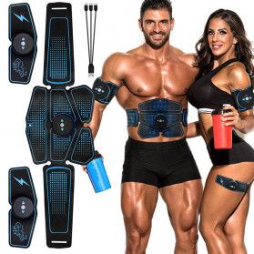 LISM Alat Stimulator Terapi EMS Otot Six Pack ABS Abdominal Muscle Exercise - OUT39 - Black