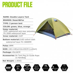 TaffSPORT Tenda Camping Backpacking Outdoor Tent Double Layer 2 Orang - S003-JY-L - Blue - 7