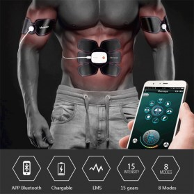 Medocflore Alat Stimulator Terapi EMS Otot Six Pack ABS Abdominal Muscle APP Control - MD16 - Black - 5