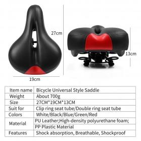 WEST BIKING Sadel Sepeda Bike Saddle Leather Model Spring - Black - 10