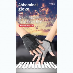 Running Sarung Tangan Sepeda Half Finger Glove Size M - AO549 - Black/Gray - 2