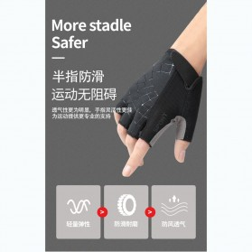 Running Sarung Tangan Sepeda Half Finger Glove Size M - AO549 - Black/Gray - 3
