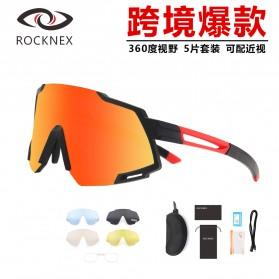 X-TIGER Kacamata Sepeda dengan 5 Lensa with Myopia Frame - SS838 - Black/Red