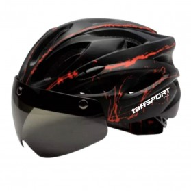 TaffSPORT Helm Sepeda Cycling Bike Helmet Visor Removable Lens - TT-31 - Black/Red