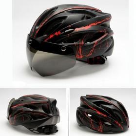 TaffSPORT Helm Sepeda Cycling Bike Helmet Visor Removable Lens - TT-31 - Black/Red - 2