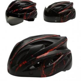 TaffSPORT Helm Sepeda Cycling Bike Helmet Visor Removable Lens - TT-31 - Black/Red - 4