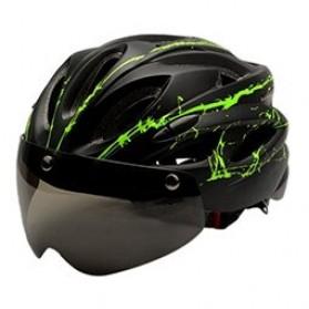 TaffSPORT Helm Sepeda Cycling Bike Helmet Visor Removable Lens - TT-31 - Black/Green
