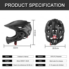 KINGBIKE Helm Modular Sepeda Anak Full Face Bike Riding Helmet Protective Gear - TSTK05 - Black - 2