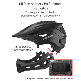 KINGBIKE Helm Modular Sepeda Anak Full Face Bike Riding Helmet Protective Gear - TSTK05 - Black - 3