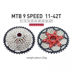 VG Sports Gigi Sprocket Sepeda Aluminium Round Ultralight 9 Speed 42T - VG72 - Silver